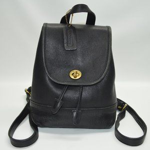 Coach Vintage Black Leather Daypack Backpack 9960